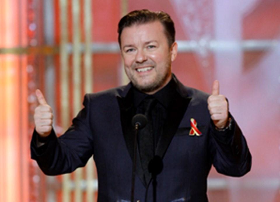 Gecenin sunucusu Ricky Gervais.