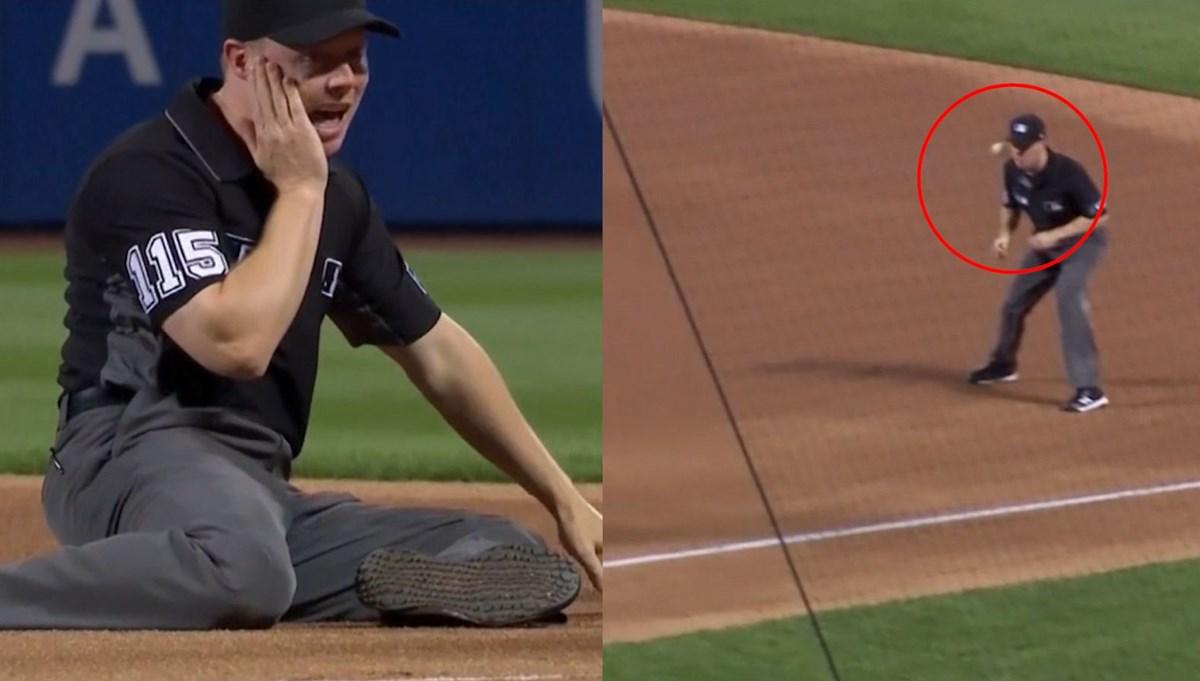 Hakemin talihsiz anı: Yüzüne beyzbol topu çarptı