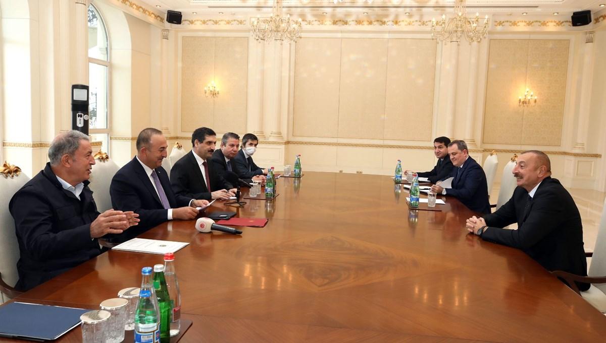 Bakanlar Çavuşoğlu ve Akar, Bakü'de Aliyev'le görüştü