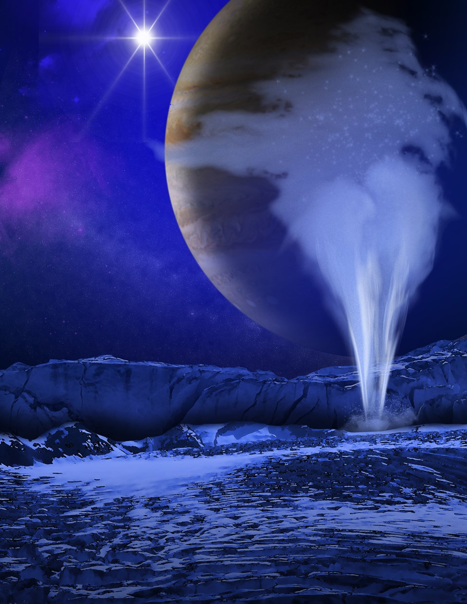 Europa'daki gayzerleri gösteren bir çizim (NASA).