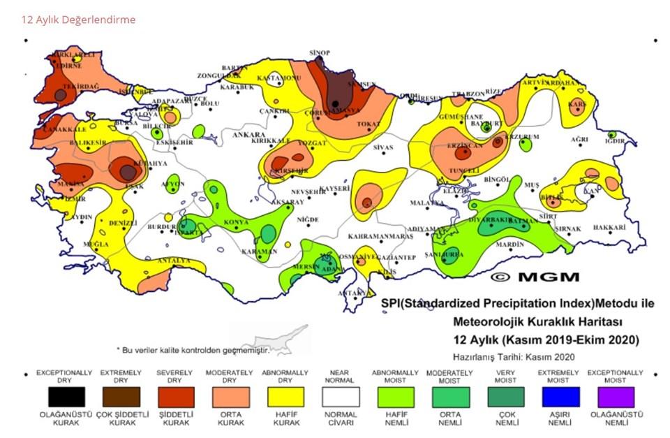 MGM'de yer alan 12 aylık kuraklık haritası (Kasım 2019-Ekim 2019)