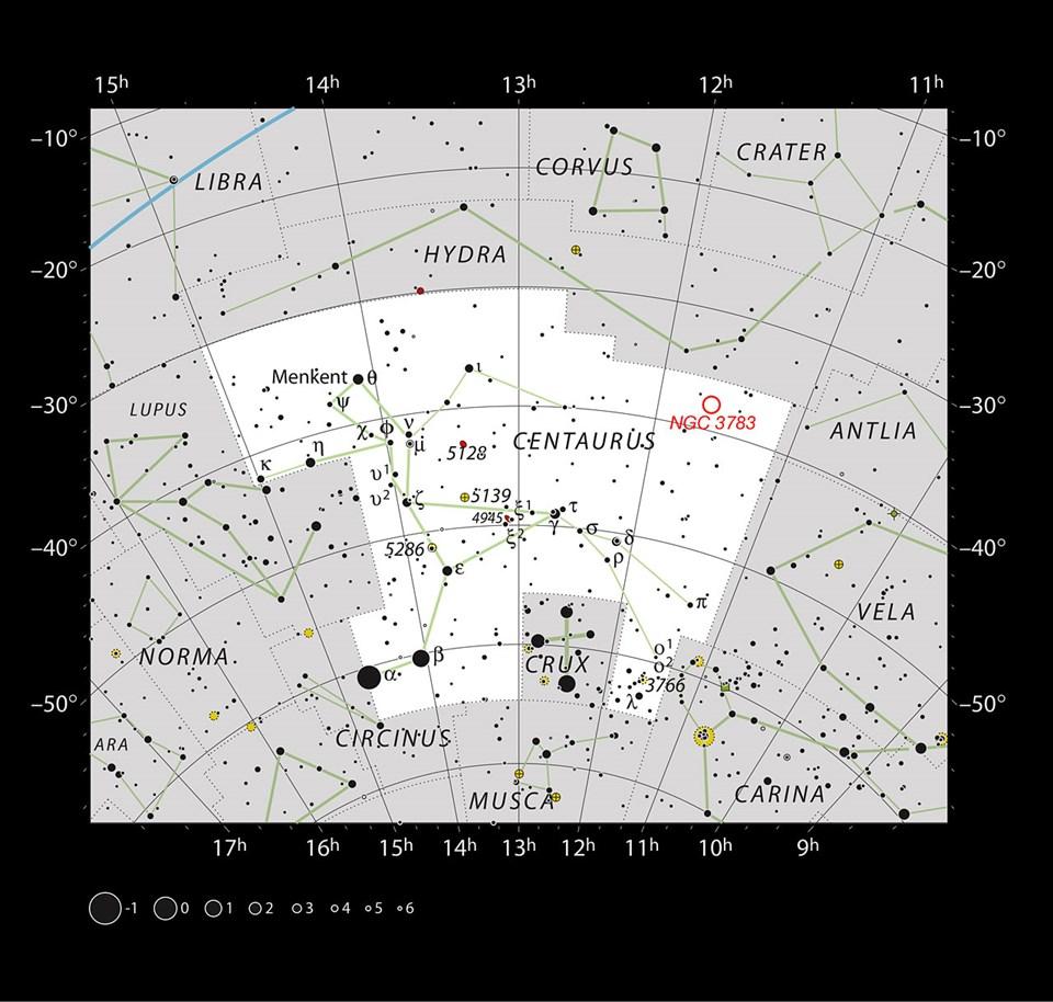 Centaurus (Erboğa) takımyıldızında yer alan NGC 3783'ün konumu (büyütmek için tıklayın).