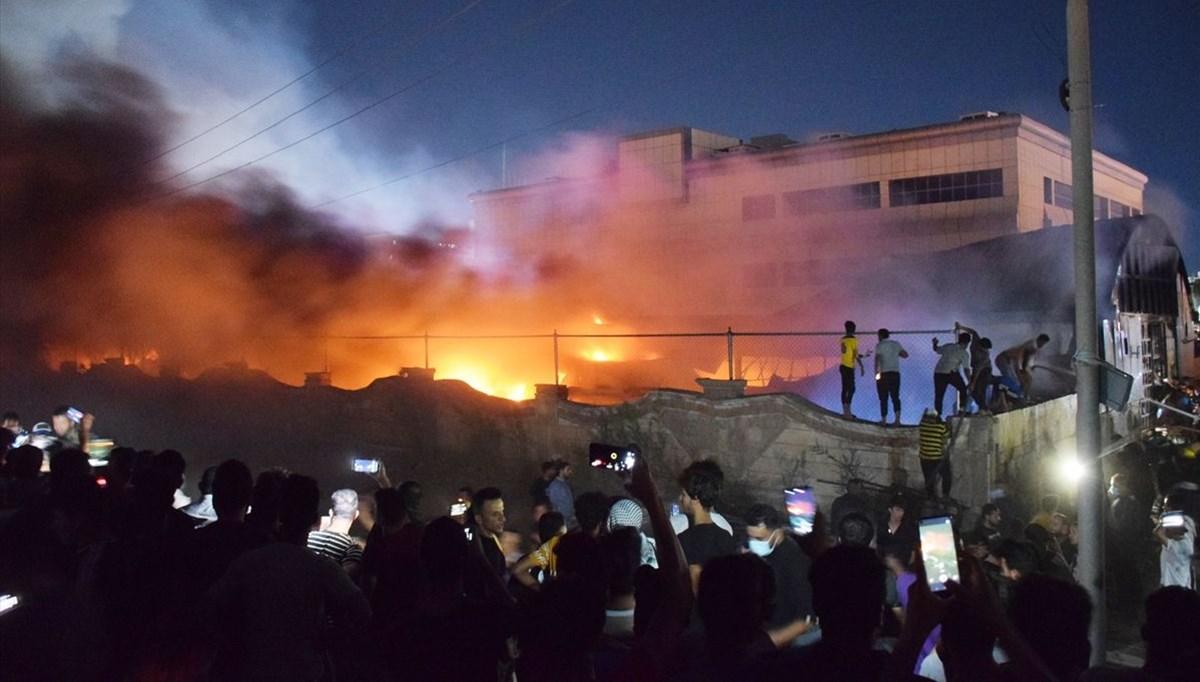 Irak'ta yangın faciası: Çıkış anı kamerada