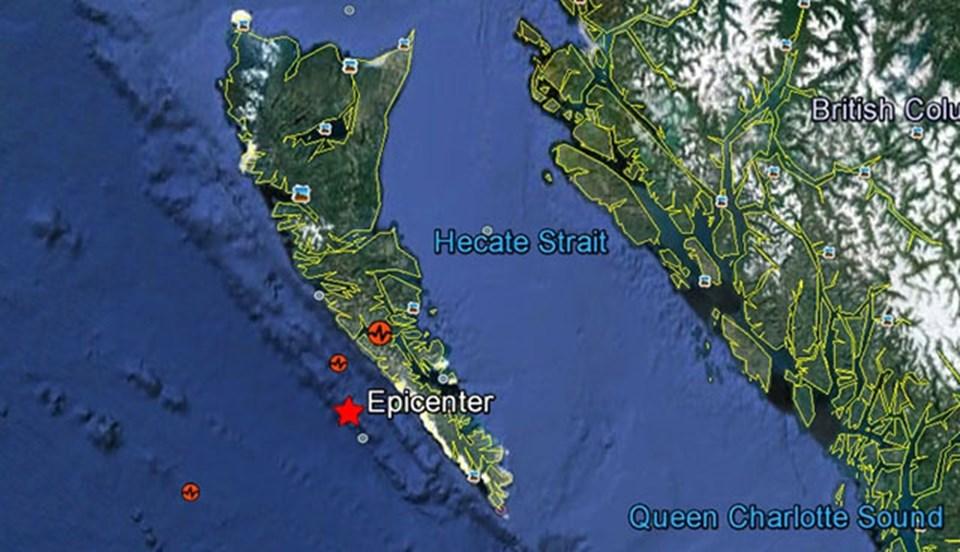 Deprem, Kanada'nın British Columbia eyaletinin kıyılarından yaklaşık 200 km açıkta meydana geldi.