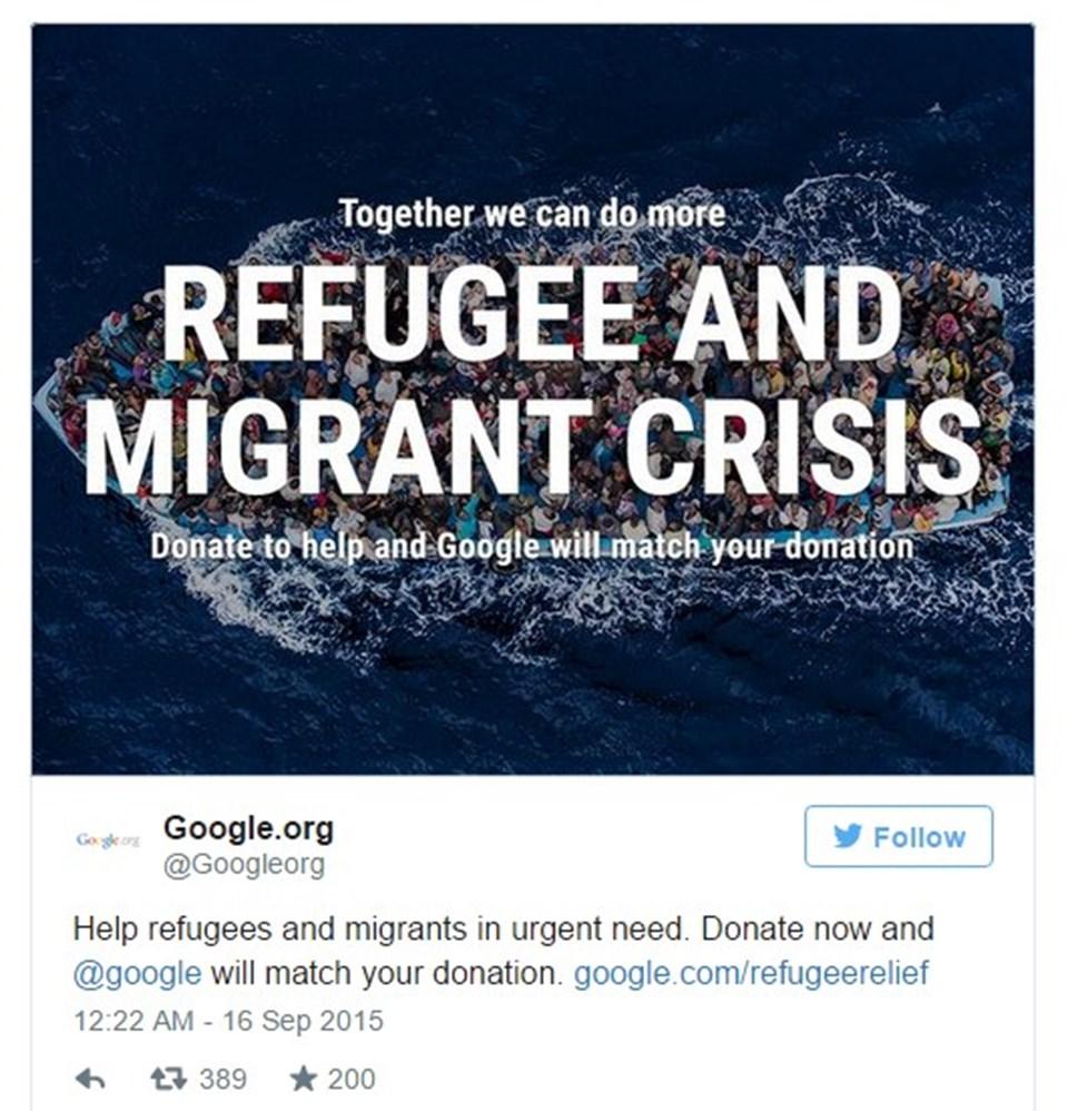 Kampanya kapsamında35 milyon TL toplamayı hedefleyen Google, şu ana kadar 6 milyon 463 bin TL bağış topladı.