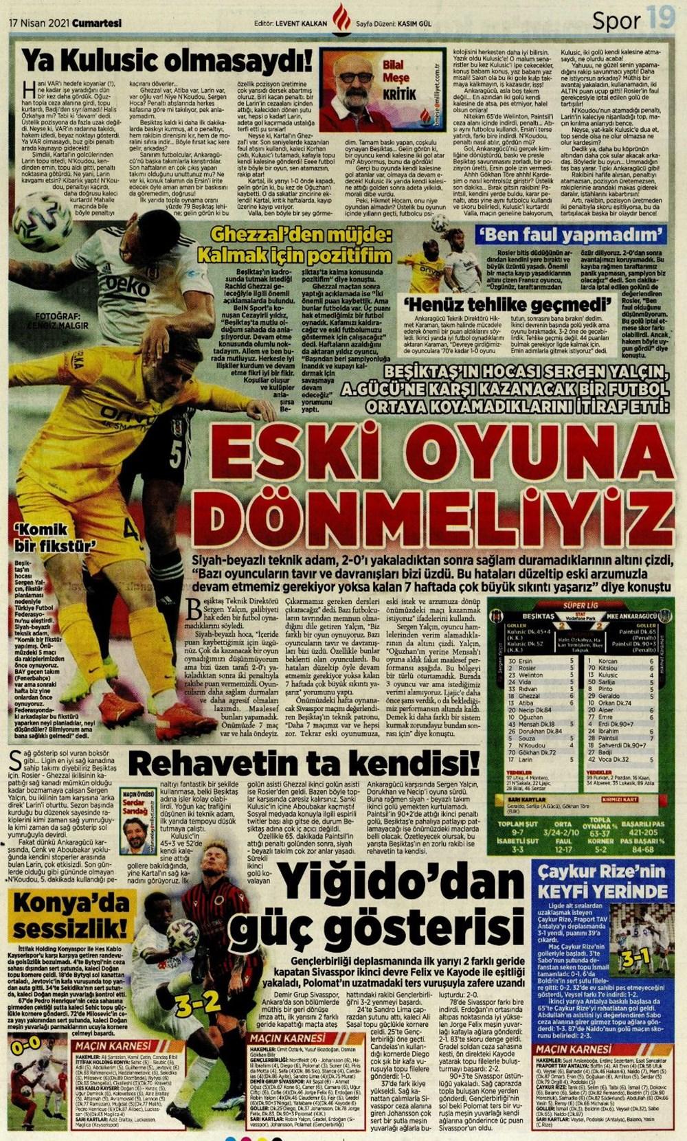 Günün spor manşetleri (17 Nisan 2021) - 13