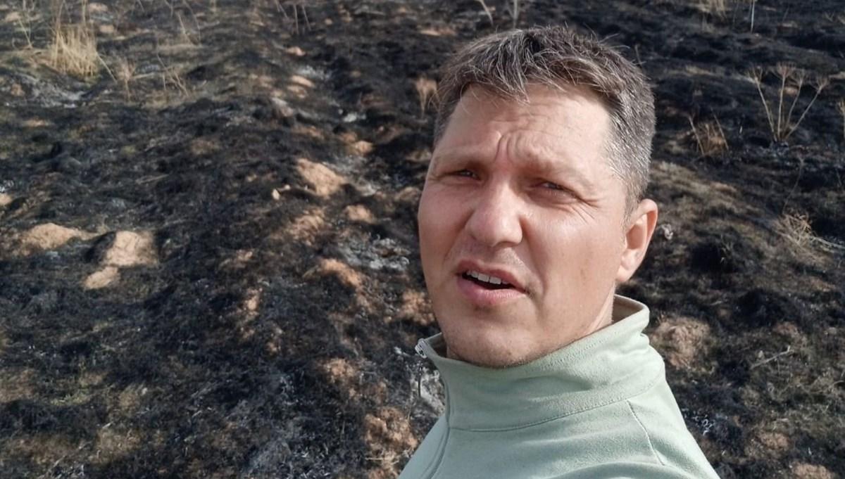 Orman yangınına tek başına müdahale etti