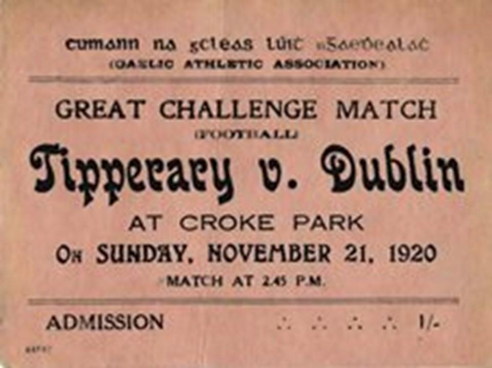 'İlk Kanlı Pazar'a sahne olan maçın, bugün bir müzede saklanan orjinal bileti.