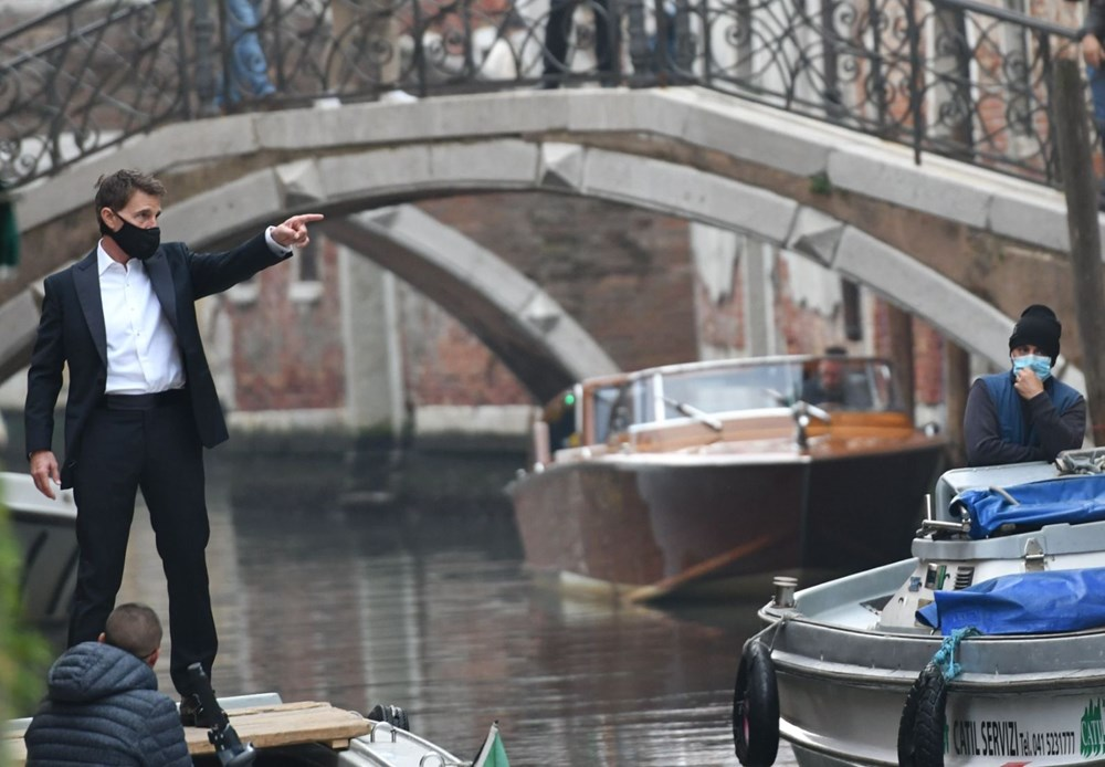 Tom Cruise Görevimiz Tehlike 7 filminin Venedik'teki setinde - 2
