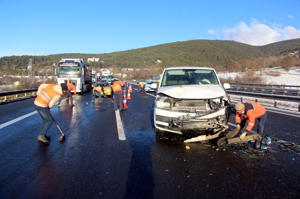 TEM'de buzlanma kazası: 9 araç birbirine girdi - 5