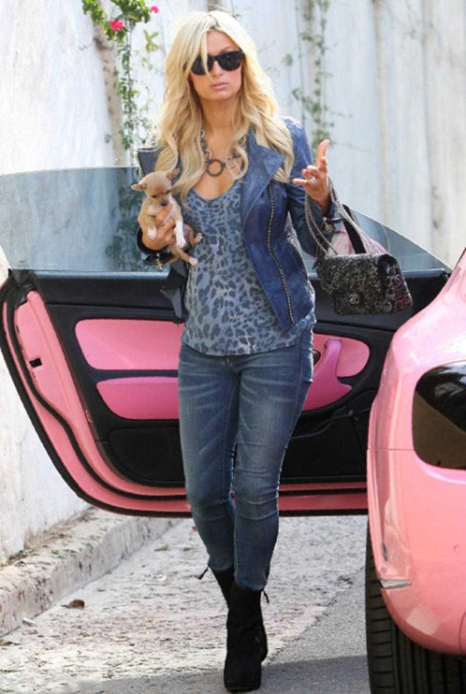 Paris Hilton chihuahua cinsi köpeğini taşıyarak pembe Bentley'inden inerken tam bir sosyete yıldızı gibi görünüyordu
