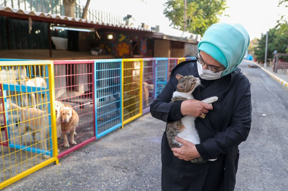 Barınakta kalıcı yuvalarını bekleyen çok sayıda hayvanın yaşamlarına ve barınağa getiriliş hikayelerine dair incelemelerde bulunan Erdoğan, 'Leblebi' isimli engelli bir köpeği de sahiplendi.