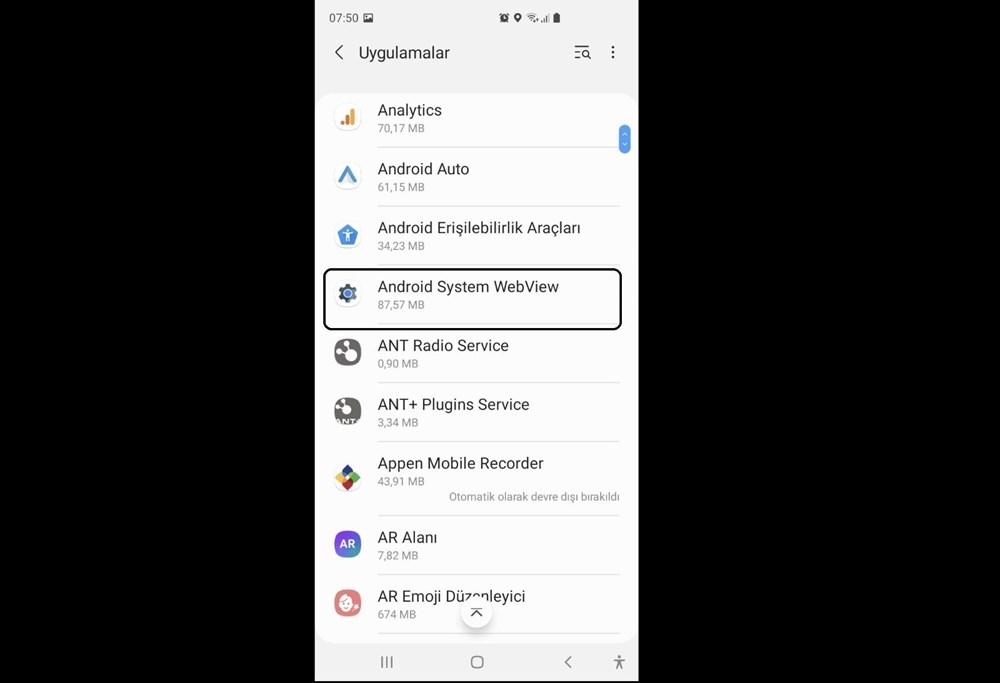 Android uygulamalar 'Android System Webview' nedeniyle çöküyor (Google'dan çözüm açıklaması) - 8