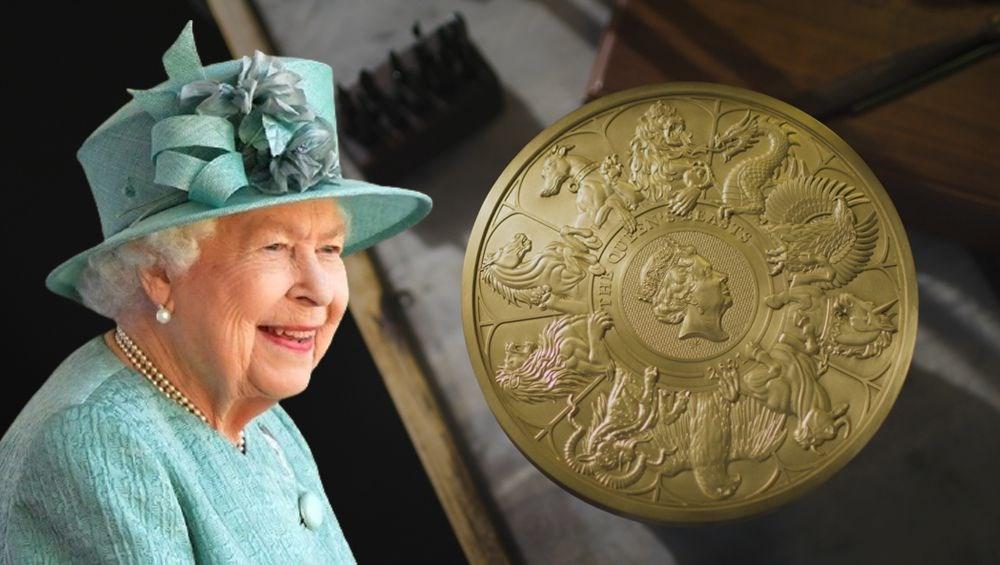 Kraliçe Elizabeth'in canavar figürlerini temsil eden madeni para - 4