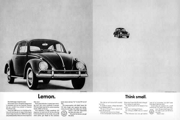 """1. Volkswagen - """"Think Small"""" Kampanyası"""