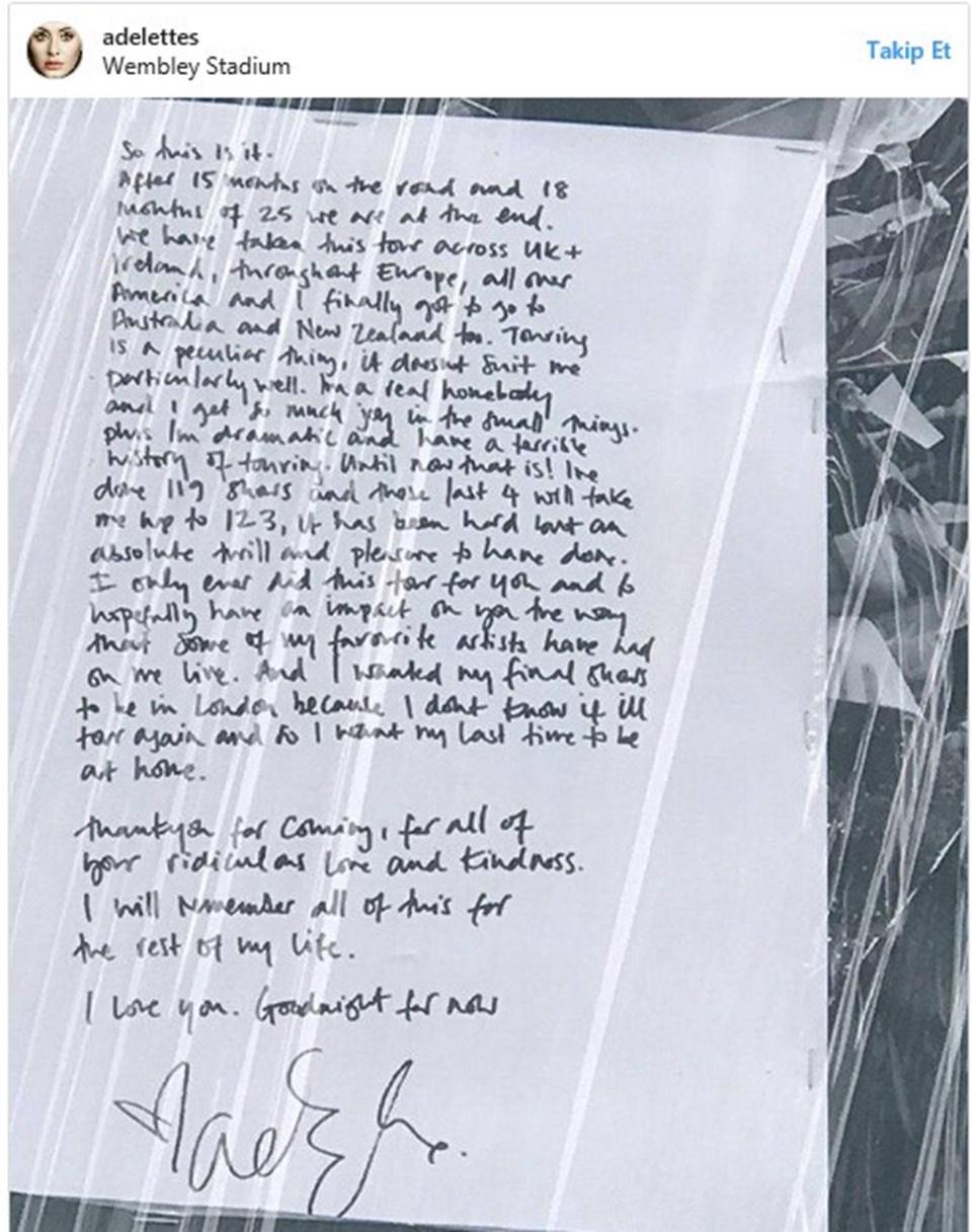 Adele, 2 Temmuz'da 2017 tunesinin son konserini verecek.