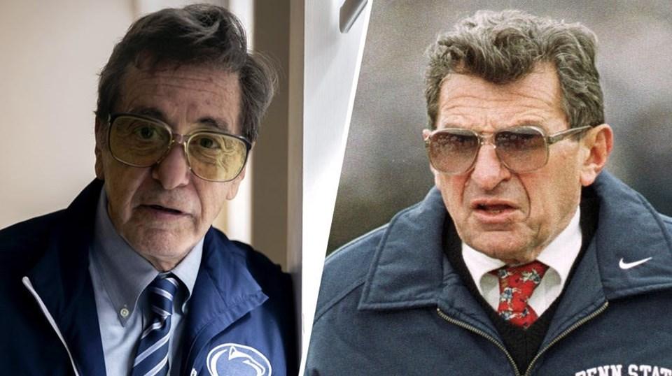 Al Pacino (soldaki), yeni filmi için Joe Paterno'ya dönüştü.