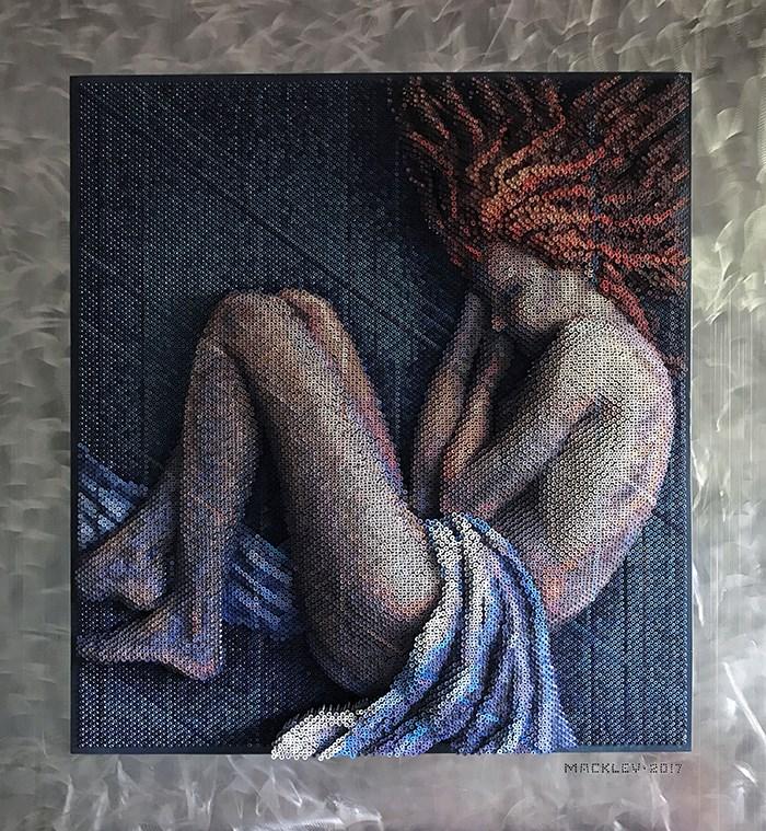 Bruce Mackley'den 20 bin çiviyle 3 boyutlu portre