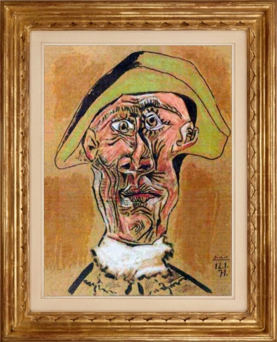"Picasso2nun ""Harlequin Head"" (Harlequin Başı) adlı eseri."