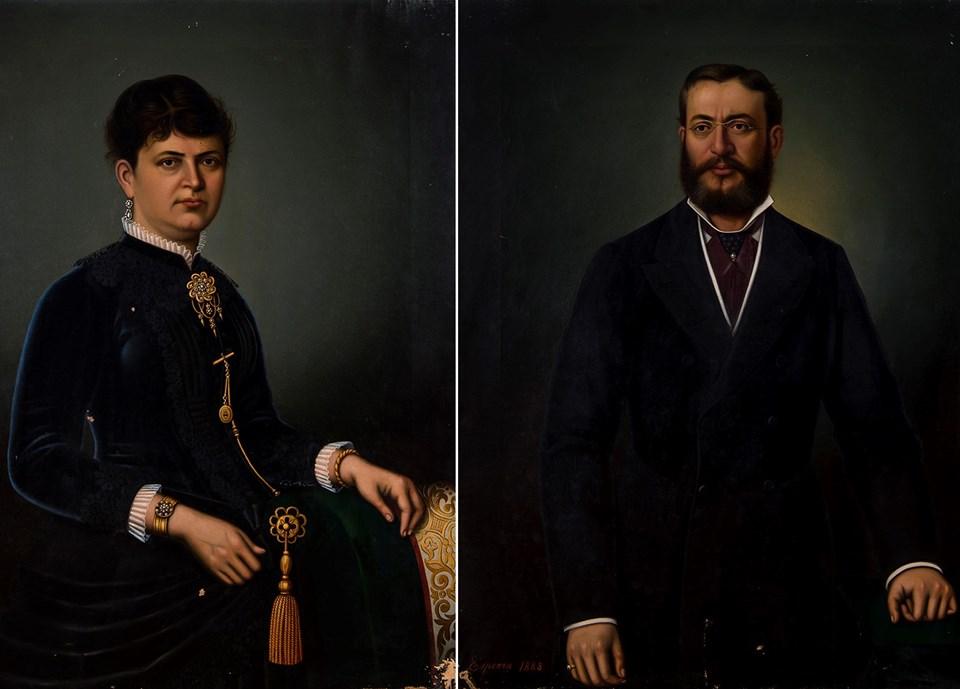 Elise Fernandez ve eşi Nissim de Kamondo'nun Esperon imzalı iki ayrı portresi (1883)