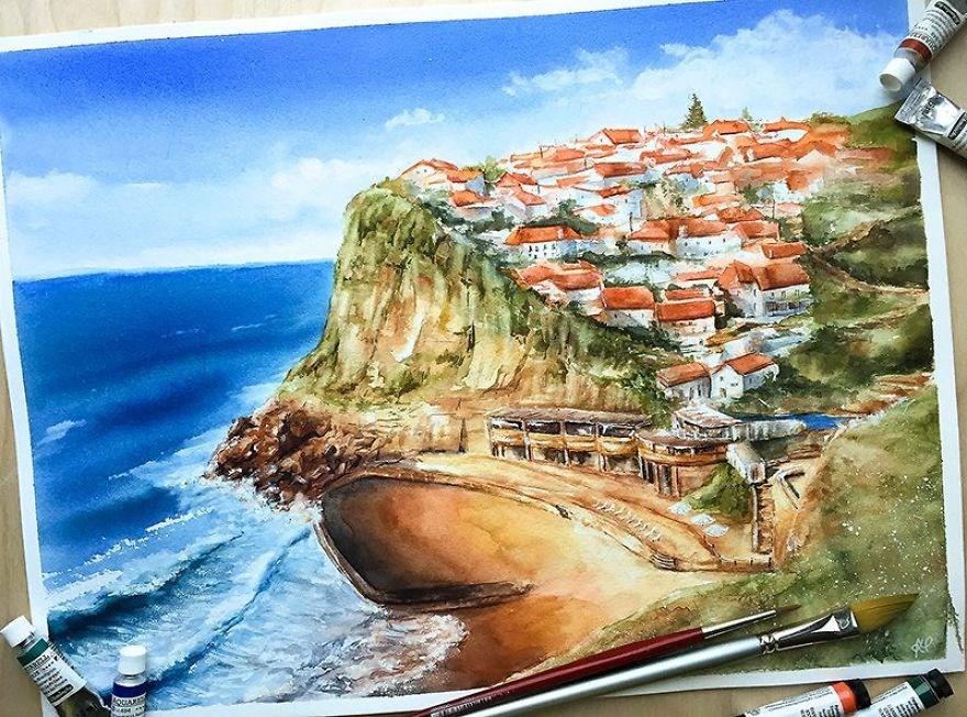 sulu boya şehirler, sulu boya şehir tabloları, suluboya şehirler