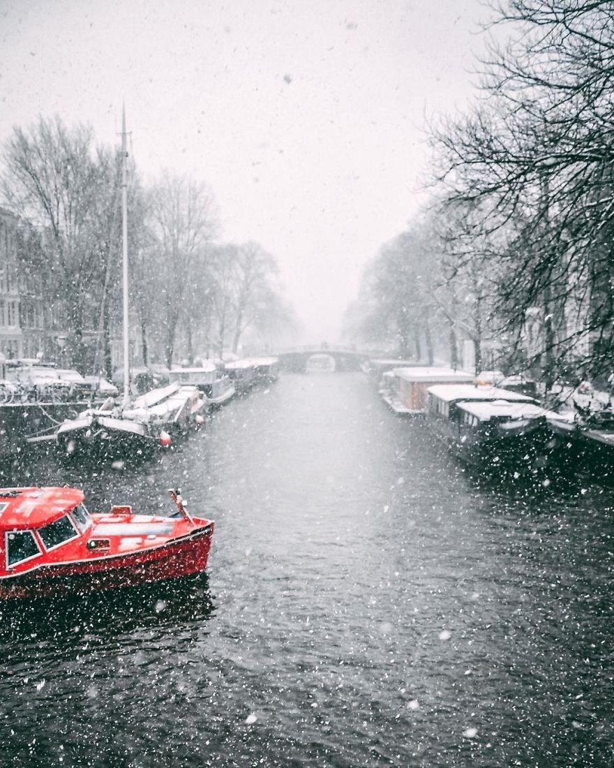 amsterdam, karlar altında amsterdam, hollanda amsterdam