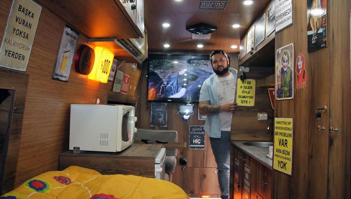 Karavana dönüştürdüğü servis minibüsüyle yollara düşecek