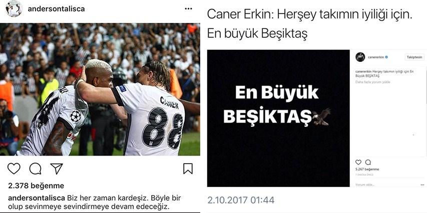 Talisca, gece yarısından sonra Caner'le olan bir gol sevinci fotoğrafını paylaştı