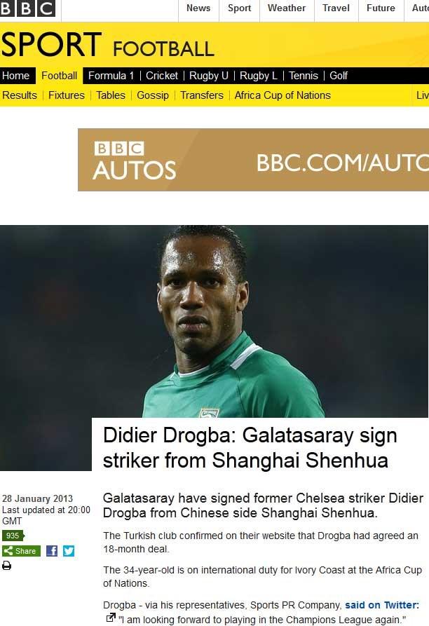 BBC - 'SNEIJDER'DEN SONRA DROGBA'