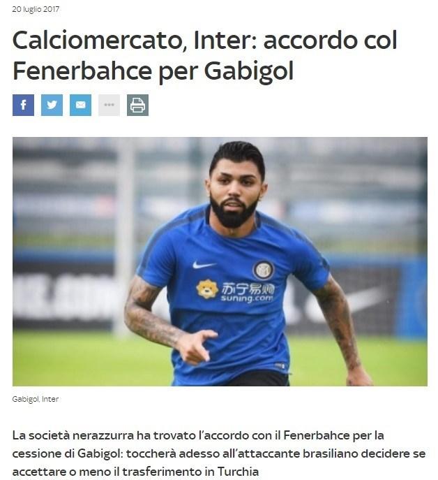 Sky Sport İtalya haberi böyle duyurdu.