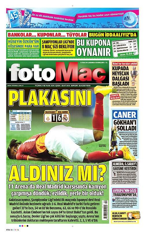 Galatasaray-Real Madrid maçı manşetlerde