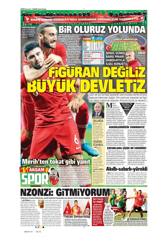 Günün spor manşetleri (11 Ekim 2019)