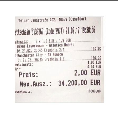 İşte Mustafa Çelik'in Almanya'da oynadığı 2 euroluk kuponu