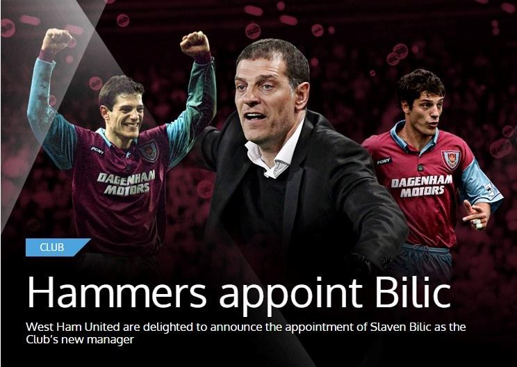 West Ham internet sitesinden yeni hocasını böyle duyurdu.Bilic 28 yaşında West Ham'a rekor bir bedelle transfer edilmişti.