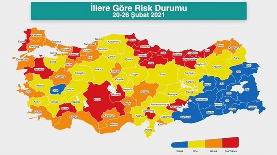 Sağlık Bakanlığı tarafından yayımlanan son risk haritası