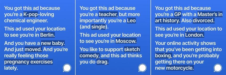 Signal'in Facebook'ta verdikten sonra yayından kaldırılan reklamların bazıları...
