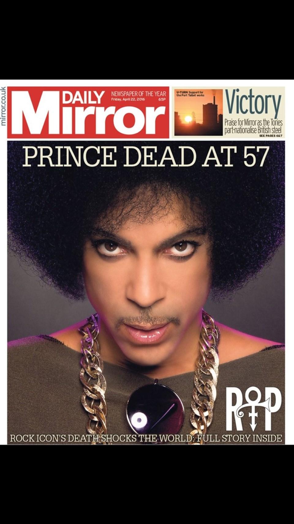 Daily Mirror da ölümü manşetten verdi.