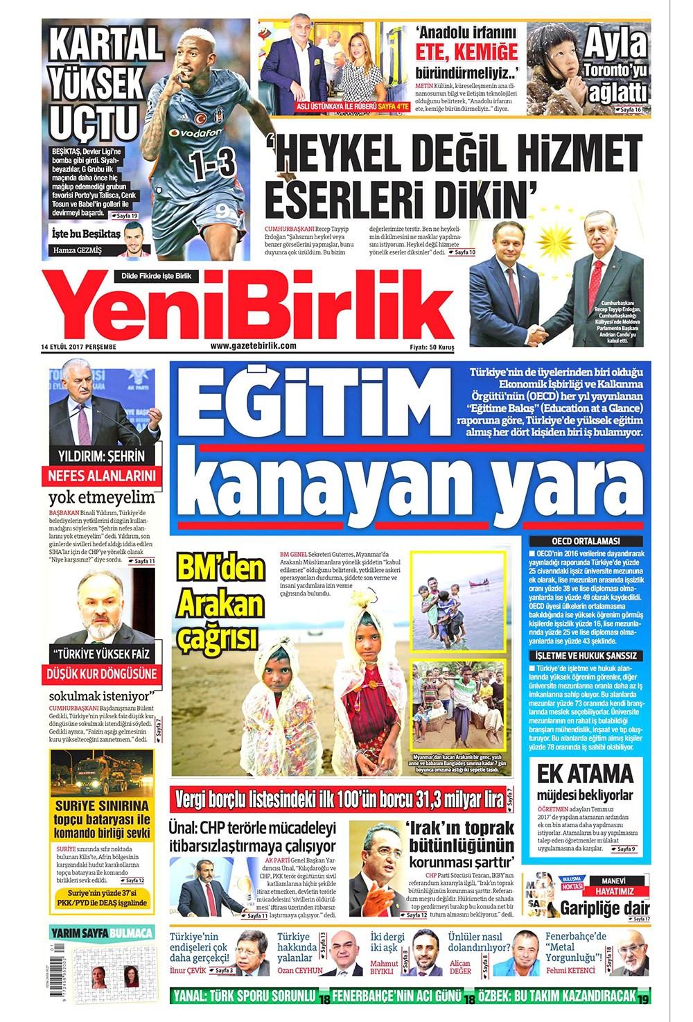 Günün gazete manşetleri - 14 Eylül 2017