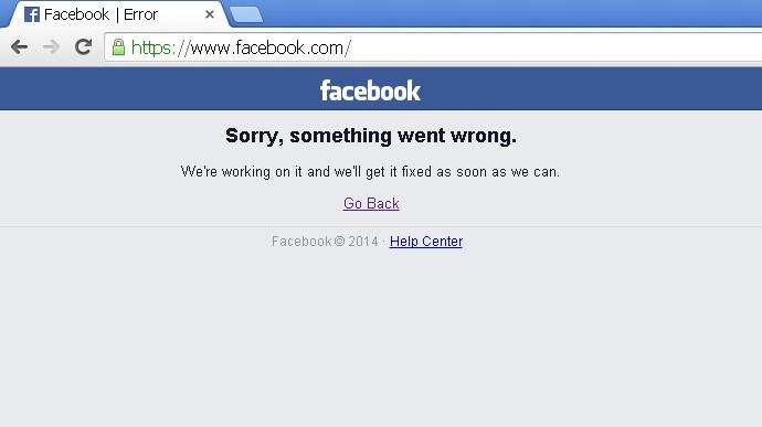 Facebook'a bağlanmak isteyen kullanıcılar yaklaşık 1 saat boyunca bu mesajla karşılaştı.
