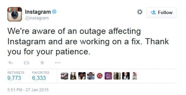 Yaklaşık 1 saat boyunca hizmet veremeyen Instagram, Twitter üzerinden bir açıklama yayınladı.