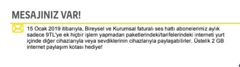 İnternet paylaşımının ücretli olacağını ilk Turkcell duyurdu. Vodafone ve Türk Telekom henüz bu konuda açıklama yapmadı