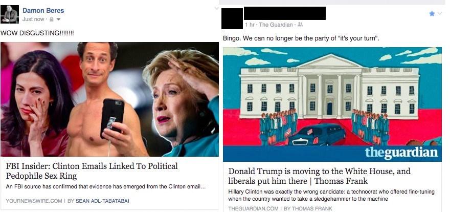 Facebook haber kaynağından bir örnek: Solda Clinton aleyhine sahte bir haber, sağda Trump'ın neden başkan seçildiğiyle ilgili gerçek bir haber.