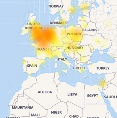 Down Detector'da yer alan bilgiye göre, sorunun en yoğun yaşandığı bölge İngiltere