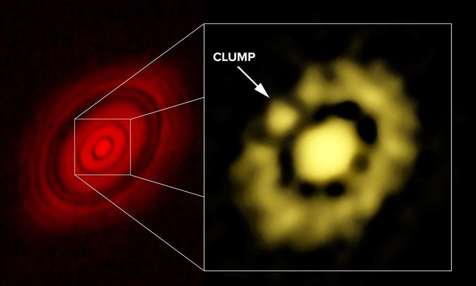 AlMA'dan 2014 yılında elde edilen görüntü (solda) New Mexico'daki daha gelişmiş bir radyo teleskobundan elde edilen görsel (sağda)