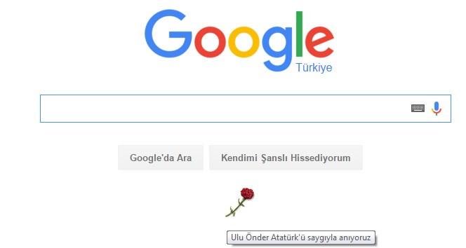 Karanfilin üzerine gelindiğinde 'Ulu önder Atatürk'ü saygıyla anıyoruz' yazısı beliriyor.