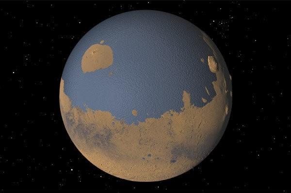 NASA tarafından yayınlanan bu görüntü Mars'ın milyonlarca yıl önceki görüntüsünü böyle tasfir ediyor.