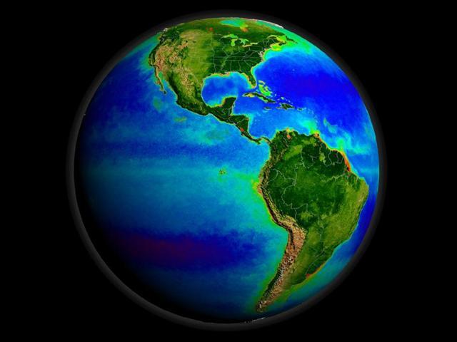 Okyanuslardaki yaşam... Uydu görüntülerinden derlenen bu imajda, yeşil bölgeler yoğun deniz yaşamının olduğu, mavi yerler de daha sakin bölgeleri gösteriyor.