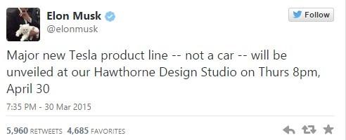 Musk,söz konusu ürünün 30 Nisan'da tanıtılacağını belirtti.