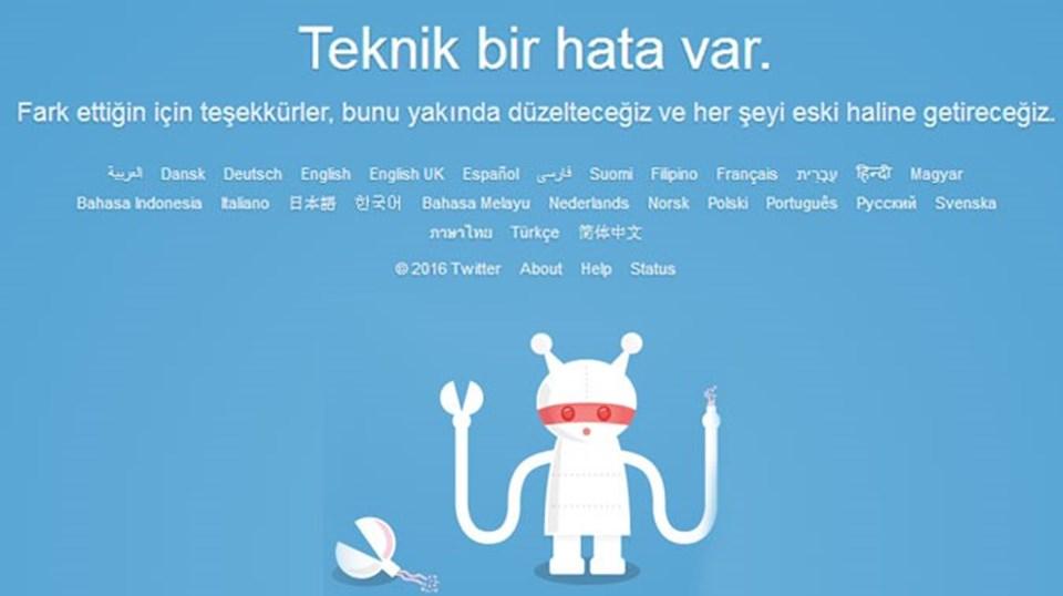 Twitter'a girmeye çalışan kullanıcılar yaklaşık 40 dakika boyunca bu uyarı sayfası ile karşılaştı