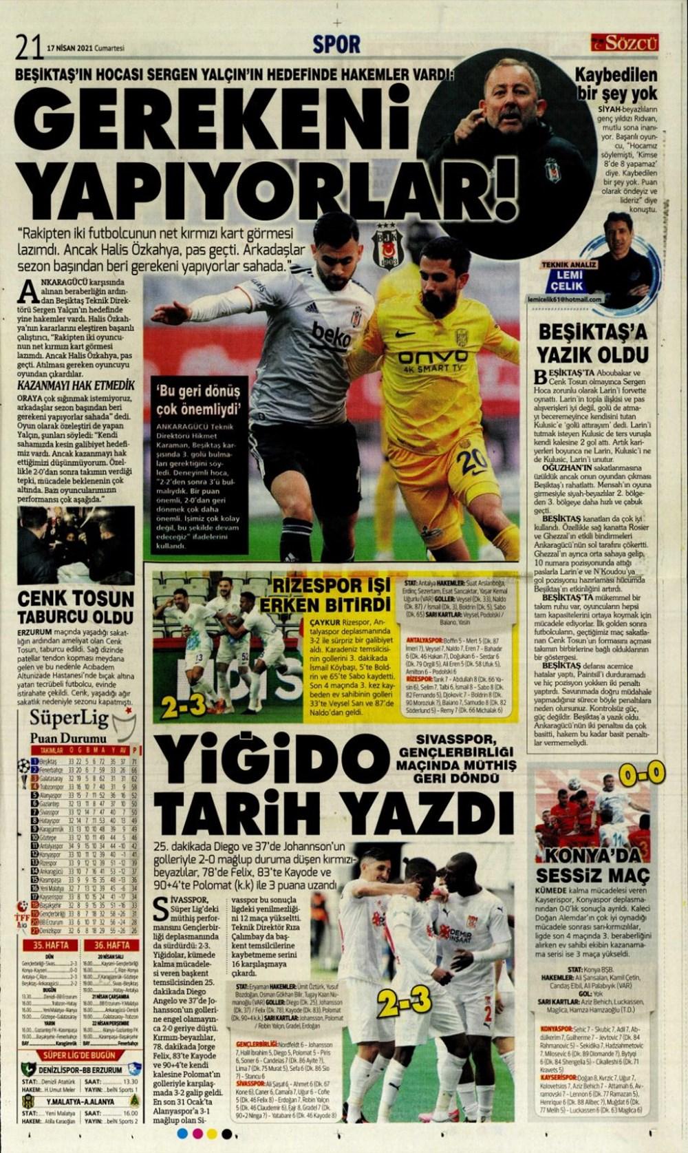 Günün spor manşetleri (17 Nisan 2021) - 20